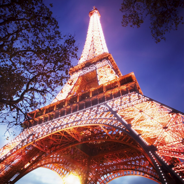 """""""Low angle view the Eiffel Tower at dusk"""" stock image"""