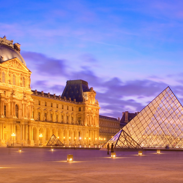 """""""Panoramic image of the Musee du Louvre at dusk"""" stock image"""