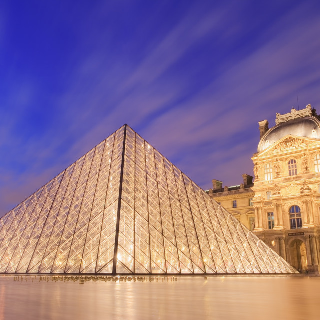"""""""The Louvre Pyramid at dusk"""" stock image"""
