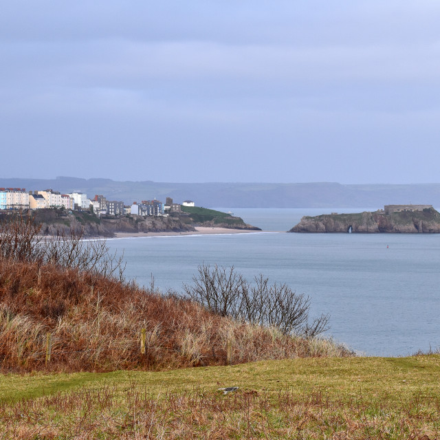 """""""A view of Tenby from the cliffs near Penally."""" stock image"""