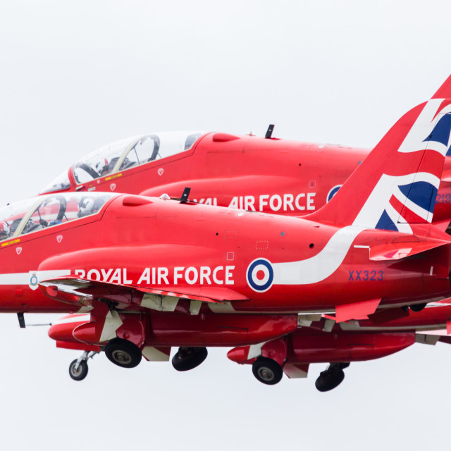 """""""Red Arrows section taking off"""" stock image"""