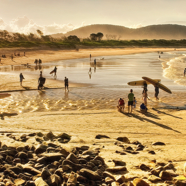 """""""Magic scene of family fun from a famous surf beach"""" stock image"""