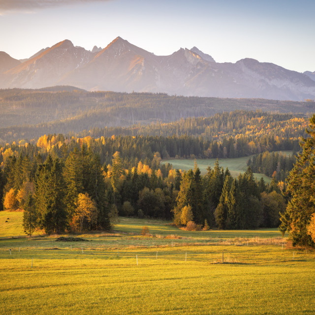"""High Tatras seen from Pass over Lapszanka"" stock image"