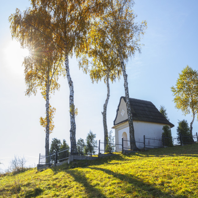 """Chapel of Our Lady of the Snows in Kacwin"" stock image"