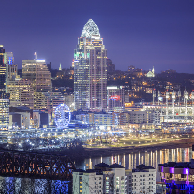 """Cincinnati at night"" stock image"