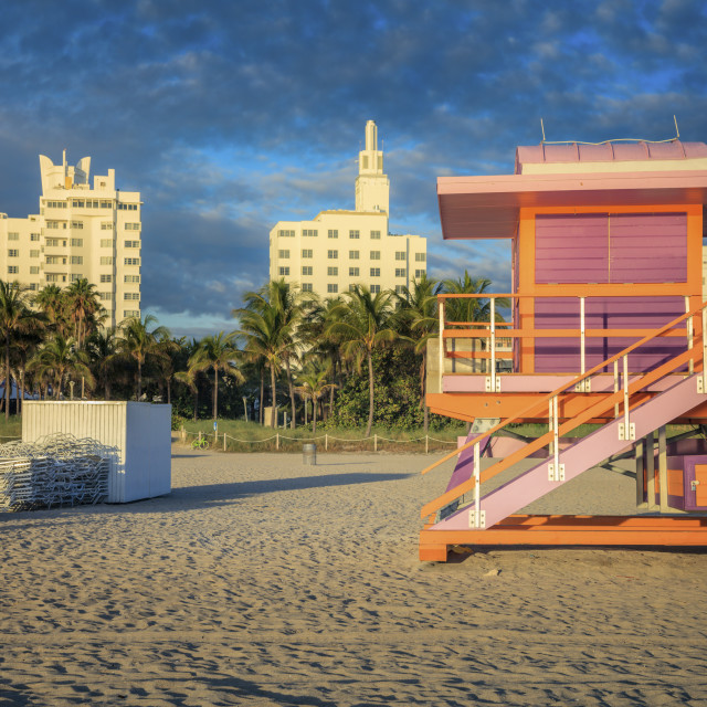 """Lifeguard booth in Miami Beach"" stock image"
