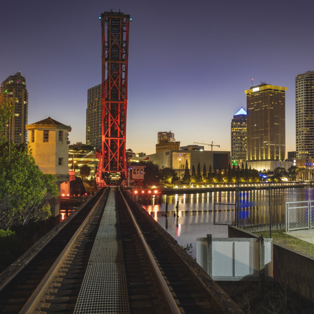 """Old bridge in downtown of Tampa"" stock image"