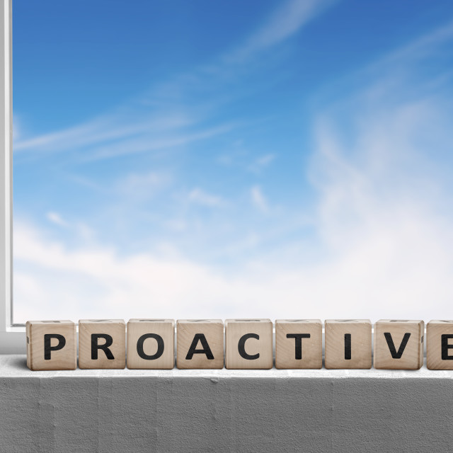 """""""Proactive sign in a window sill on a bright day"""" stock image"""