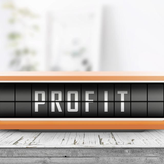 """Profit message on a retro alarm device"" stock image"