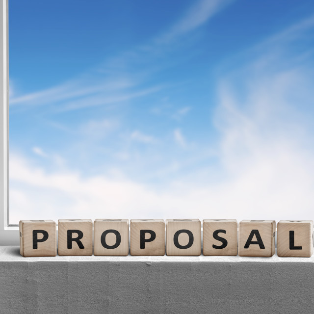 """""""Proposal sign in a window with a view to a heavenly"""" stock image"""