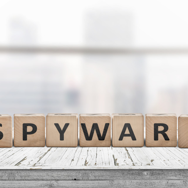 """""""Spyware word on wooden cubes"""" stock image"""