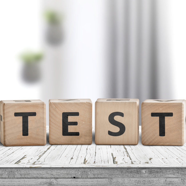 """""""Test sign made of wood with text"""" stock image"""