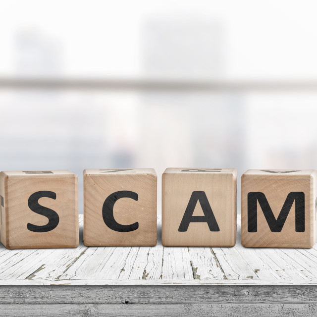"""""""The word scam made of wooden blocks"""" stock image"""