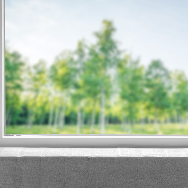 """""""Windowsill with a view to a green garden"""" stock image"""