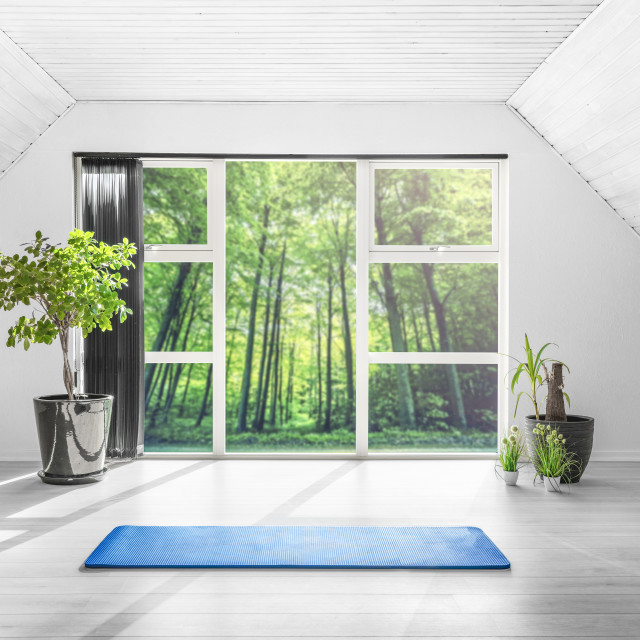 """""""Yoga gym room in a green forest"""" stock image"""
