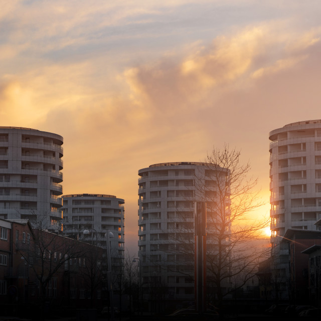 """""""Round tower appartments in the sunset"""" stock image"""