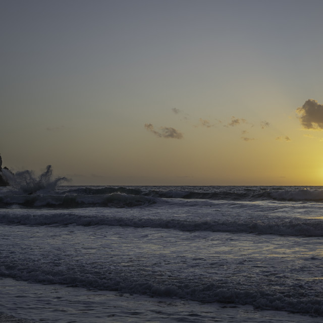 """""""Waves At Sunset"""" stock image"""