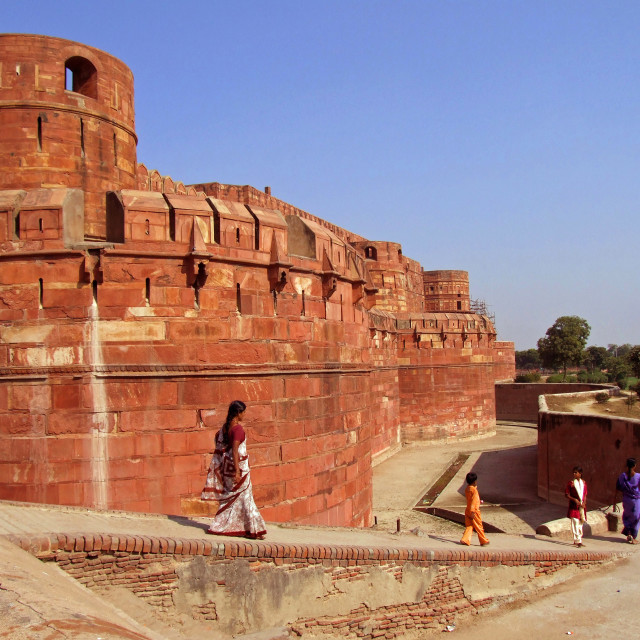 """""""The Red Fort at Agra with the Taj Mahal in the background"""" stock image"""