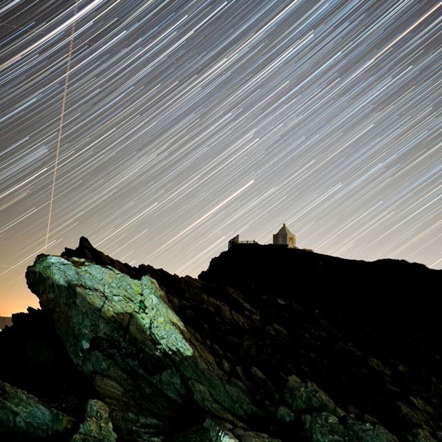"""Star Trails at Towan Headland"" stock image"