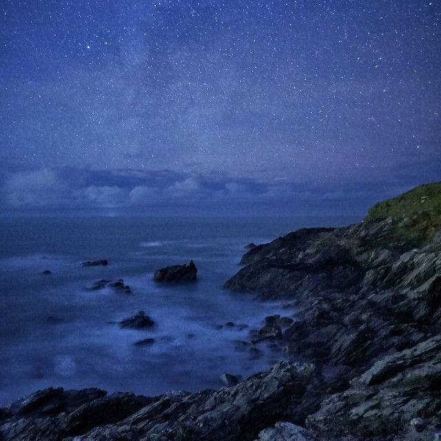 """""""stars over Little Fistral."""" stock image"""