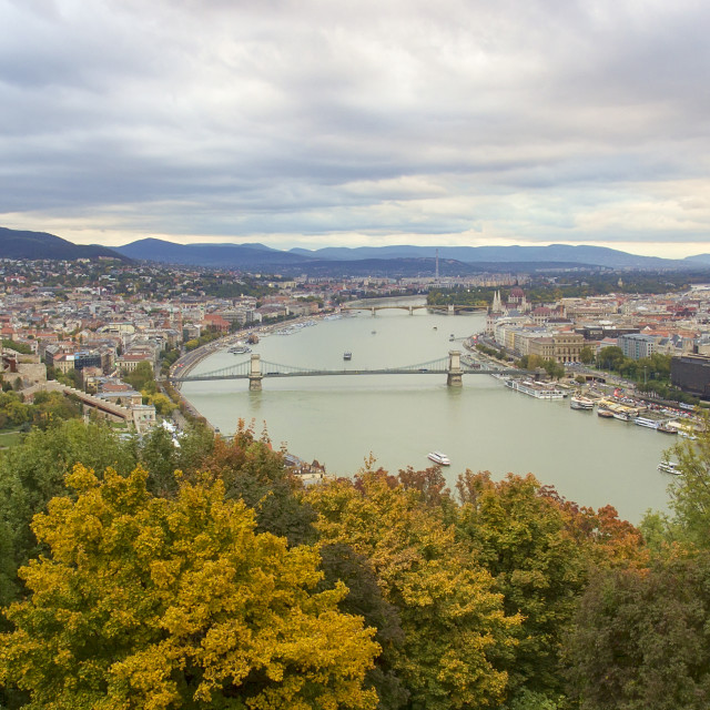 """Panoramic view from Gellert Hill on landmarks of Budapest at autumn sunset"" stock image"