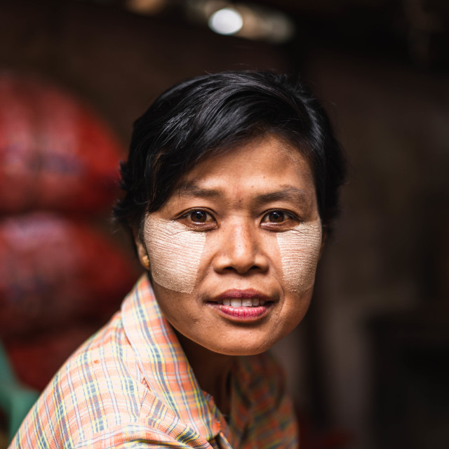"""""""The woman from a burmese market"""" stock image"""