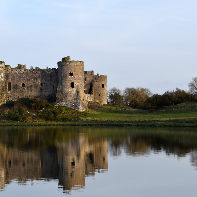 """""""View of Carew Castle on a February evening."""" stock image"""