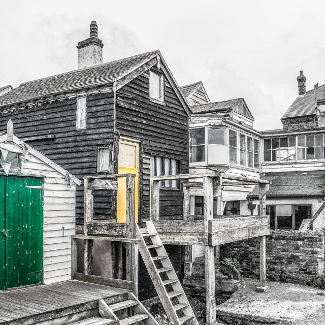 """""""Timber and wooden huts in Lynsted, Kent, England"""" stock image"""