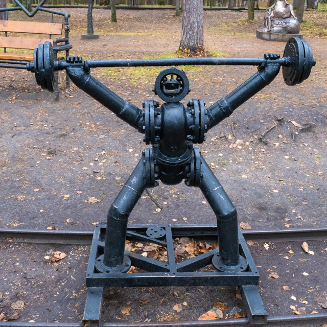 """""""Metal sculpture of an athlete with a barbell in Stepanov Park, 1"""" stock image"""