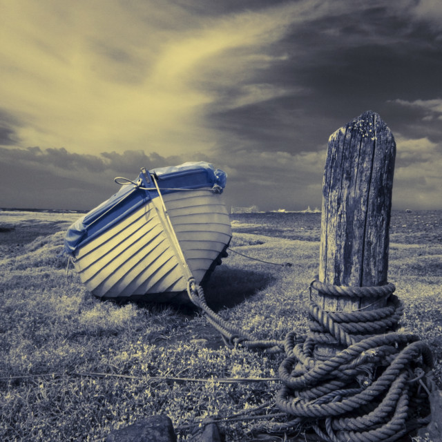"""Tethered Boat at Porlock Weir"" stock image"