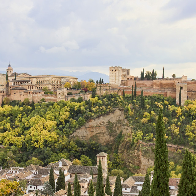 """Panoramic view of the Alhambra of Granada from the Albaicin."" stock image"