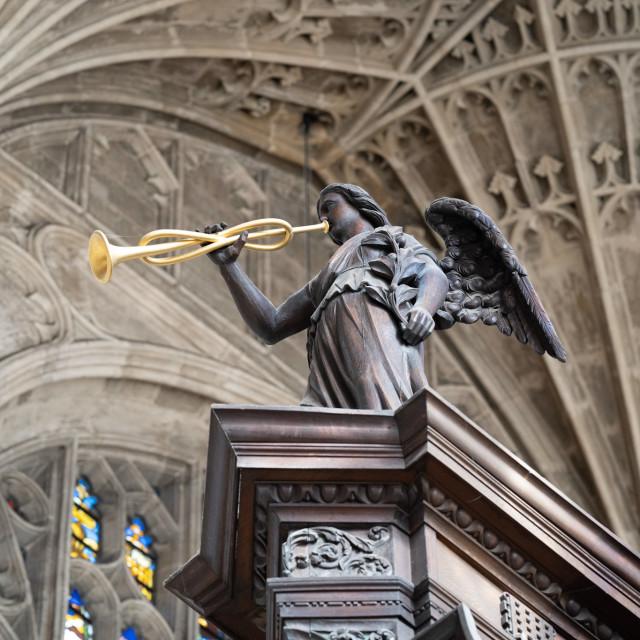 """""""Kings College Chapel Angel Cambridge UK."""" stock image"""