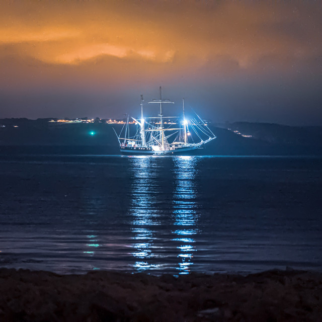 """Kingsand Beach Cornwall by night."" stock image"