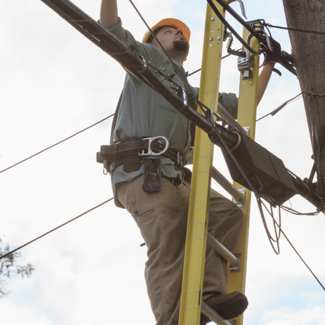 """""""Tradesman standing on a ladder working with overhead cables"""" stock image"""