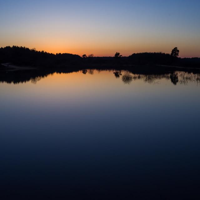 """Caesar's Camp Lake Sunset"" stock image"