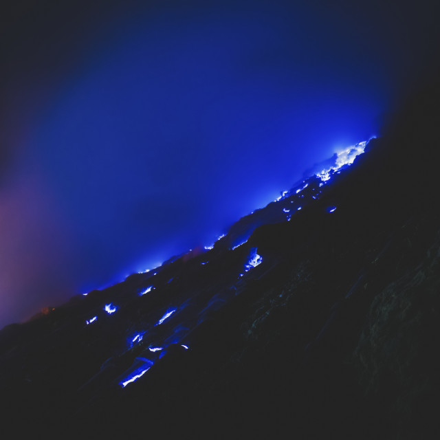 """""""The blue flames of Ijen, inside the crater of the volcano; East Java, Java,..."""" stock image"""