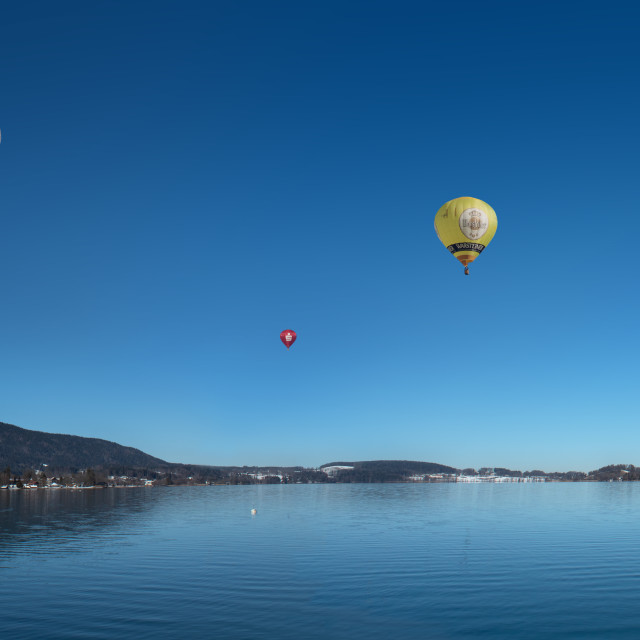 """Montgolfiade on Lake Tegernsee"" stock image"