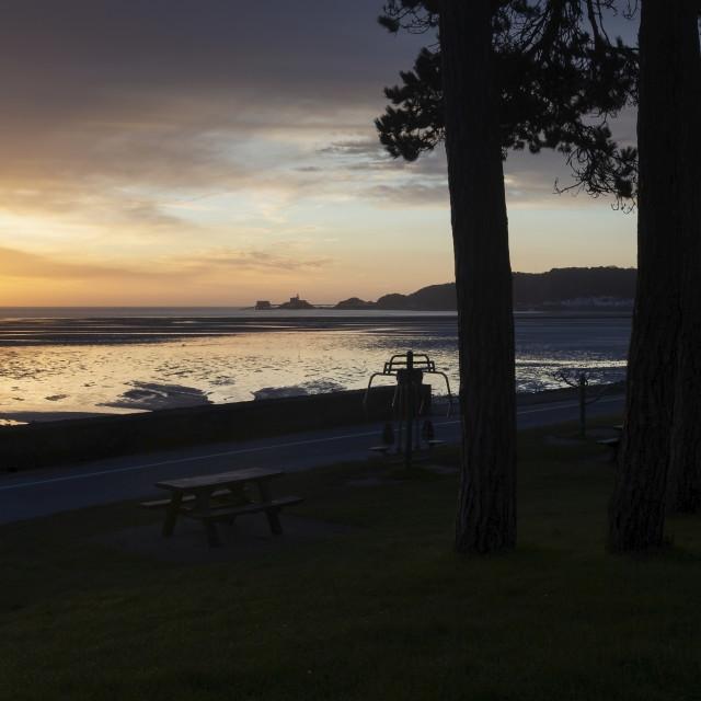 """A Winter sunrise in Swansea"" stock image"