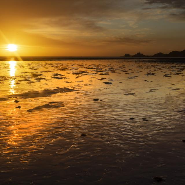 """Daybreak at Swansea Bay"" stock image"