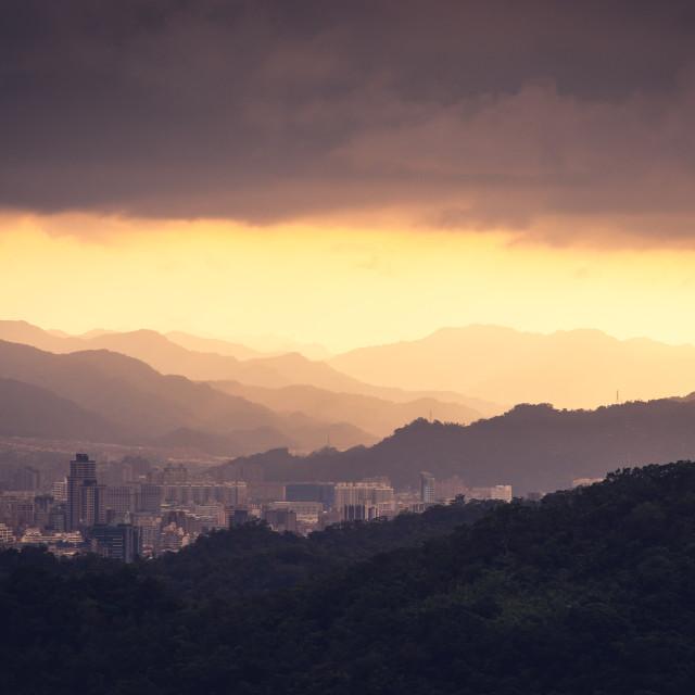 """Sunset over Taipei"" stock image"