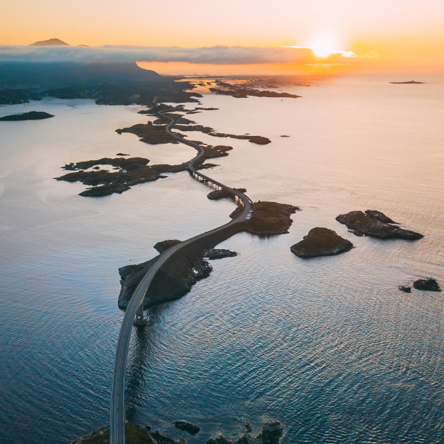 """Sunset over Atlantic Road"" stock image"