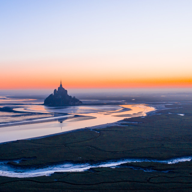 """Mont Saint Michel at Sunrise"" stock image"