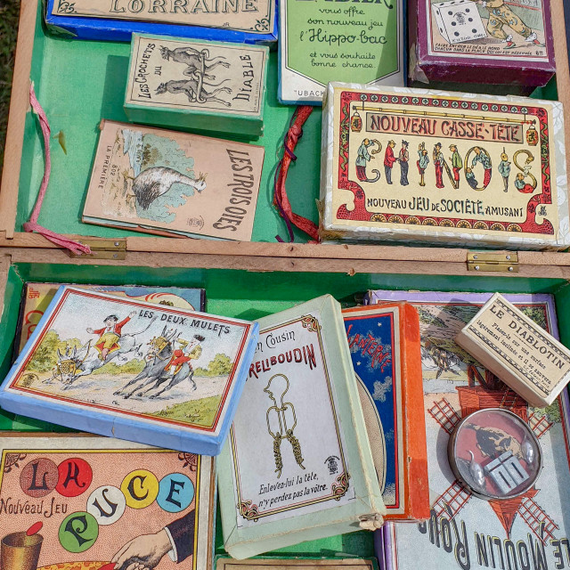 """French games in a drawer"" stock image"