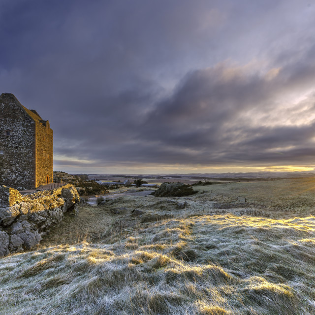 """Smailholm Tower Sunrise"" stock image"