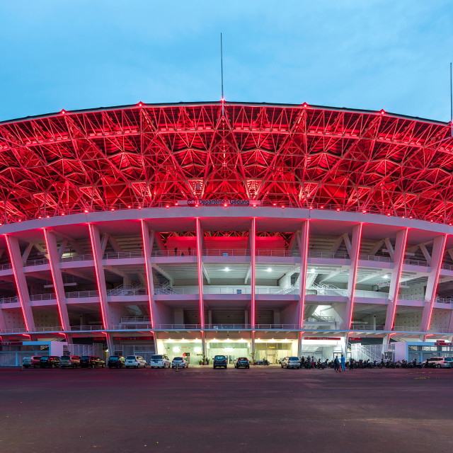 """""""Gelora Bung Karno Main Stadium, formerly Gelora Senayan Main Stadium, is a multi-purpose stadium located at the center of the Gelora Bung Karno Sports Complex in Central Jakarta, Indonesia. The stadium is named after Sukarno, the 1st President of Indonesi"""" stock image"""