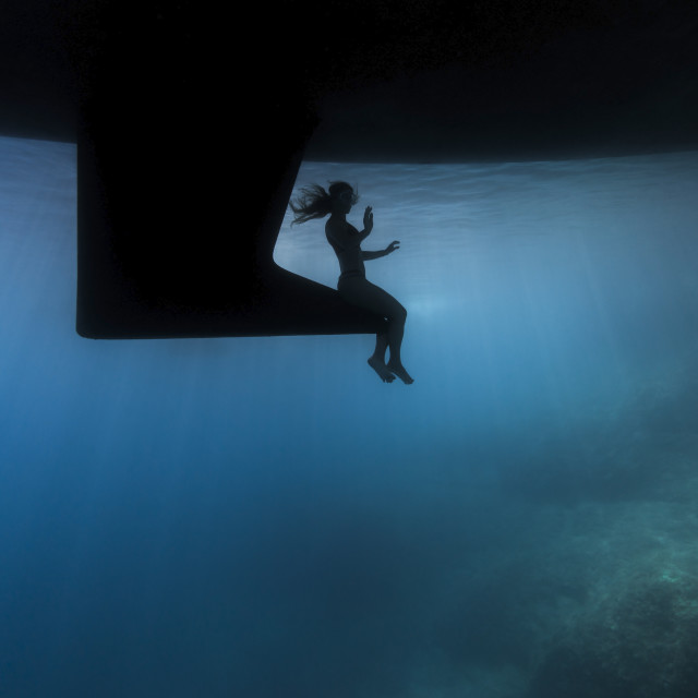 """""""Under the boat"""" stock image"""