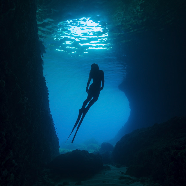 """""""Blue cave"""" stock image"""