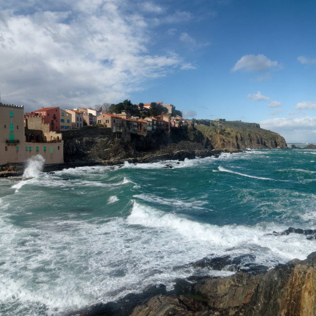 """""""Waves on Collioure"""" stock image"""