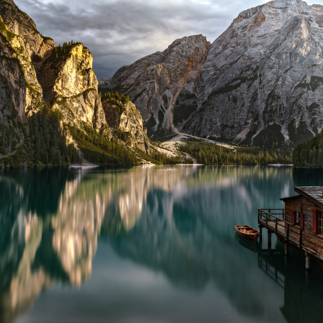 """Braies Lake, Dolomites, South-Tyrol, Italy"" stock image"