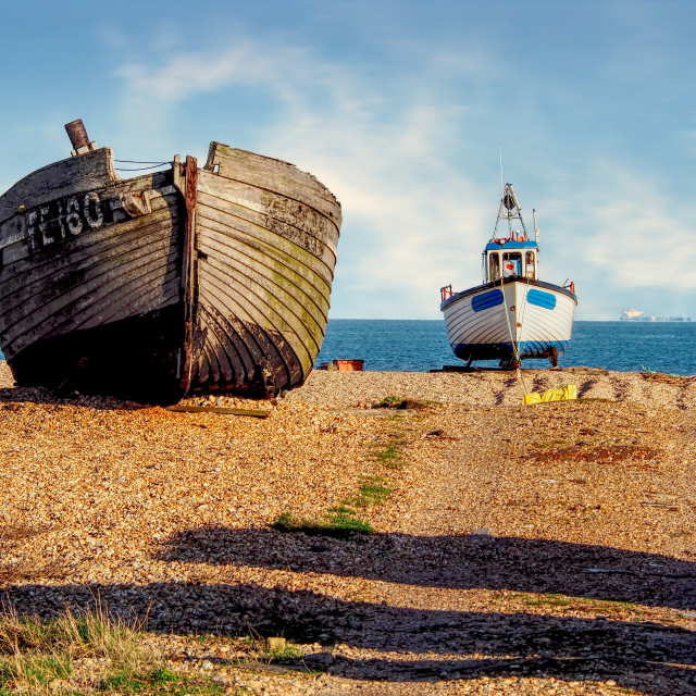"""Old boats - Dungeness, Kent, UK"" stock image"
